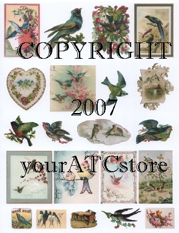yourATCstore Vintage Birdies Collage Sheet