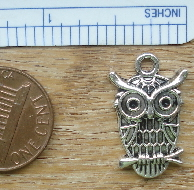 Owl with Large Eyes Charm - Silver