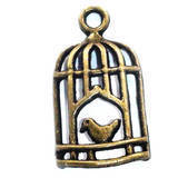 Birdcage Bronze Charm with Bird