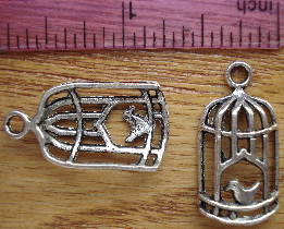 Birdcage Silver Charm with Bird