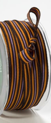 "May Arts Halloween 3/8"" Black/Orange/Purple Stripe Grosgrain Tri"