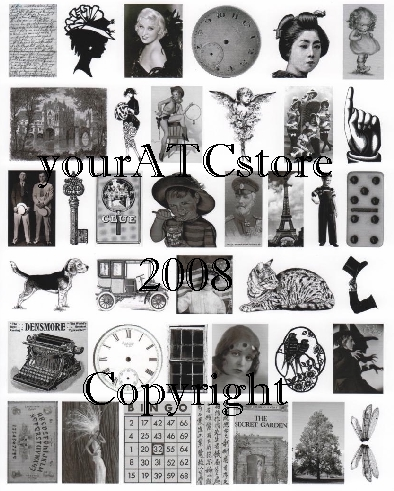 yourATCstore Artist Trading Card Collage Sheet - Black & White