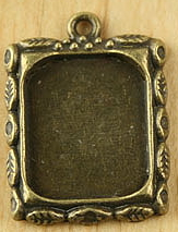 Picture Frame Photo Charm - Bronze Leaf Design