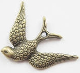 Bird - Flying Sparrow Charm - Antique Brass