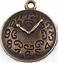 Clock - Antique Brass Clock Face Charm