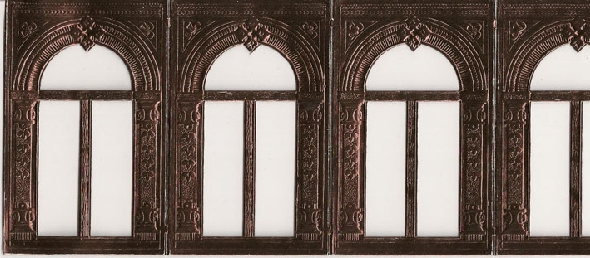 German Foil (Dresden) Paper/Scrap - 4 Archways in Brown