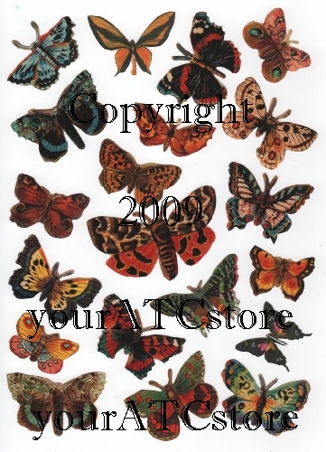 yourATCstore Butterflies Collage Sheet - Victorian