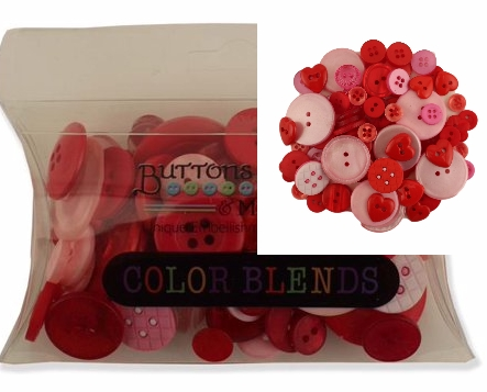 Buttons Galore Button Color Blends Valentine 3 oz. Reds & Pinks