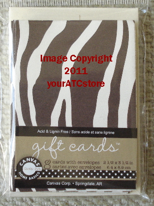 Canvas Corp. Choco & Cream Zebra ATC Size Gift Cards & Envelopes