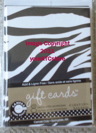 Canvas Corp. Black & White Zebra ATC Size Gift Cards & Envelopes