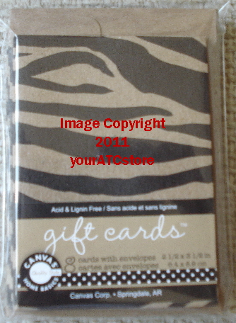 Canvas Corp. Black & Kraft Zebra ATC Size Gift Cards & Envelopes