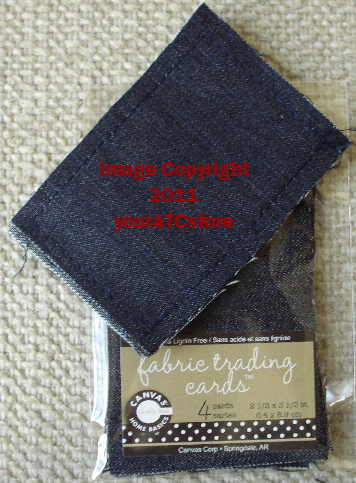 Canvas Corp. Fabric Blue Jean Denim Artist Trading Cards 4/Pkg.