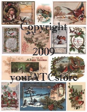 yourATCstore Christmas Birds 2 Collage Sheet