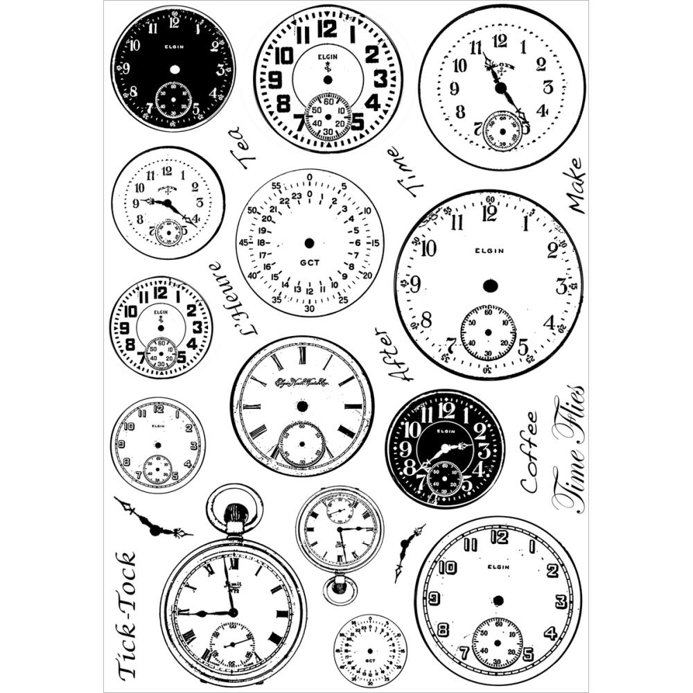 *NEW Crafty Individuals Unmounted Rubber Stamp Tick Tock Clock