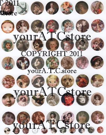 "yourATCstore 1"" x 1"" Circle Cutie Pies #1 Collage Sheet"