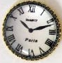 7 Old Style Paris Roman Numeral Silver Flat Back Clocks 1/2 in.