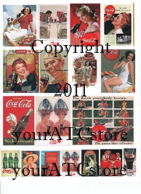 yourATCstore Vintage Coke Ads #1 Collage Sheet