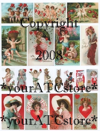 yourATCstore Vintage Valentines Day Collage Sheet