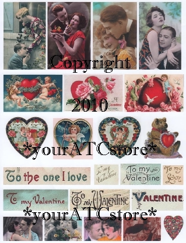 "yourATCstore ATC ""To My Valentine"" Collage Sheet"