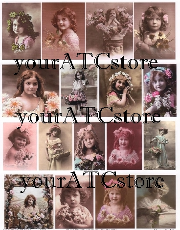 yourATCstore Flower Girls II Collage Sheet