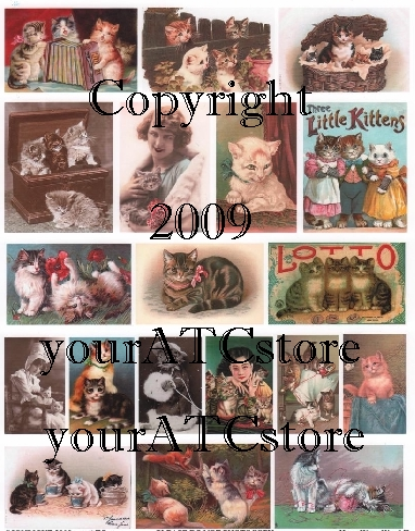 yourATCstore Here, Kitty Kitty II Collage Sheet