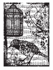 Stampers Anonymous' Tim Holtz ATC Stamp -  Birdsong