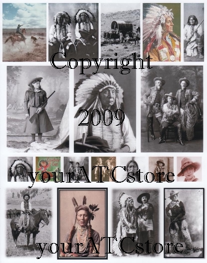 yourATCstore ATC Cowboys & Indians Collage Sheet