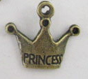 Crown - Princess Charm - Antique Brass