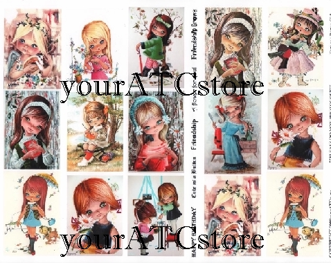 yourATCstore Cute as a Button Girls - Collage Sheet