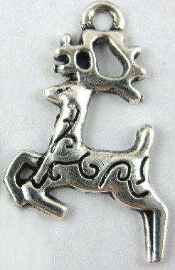 Christmas Flying Reindeer Charm - Silver
