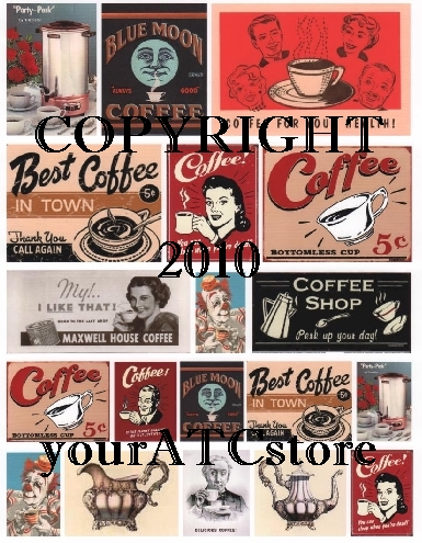 yourATCstore Delicious Hot Coffee Anyone? Collage Sheet