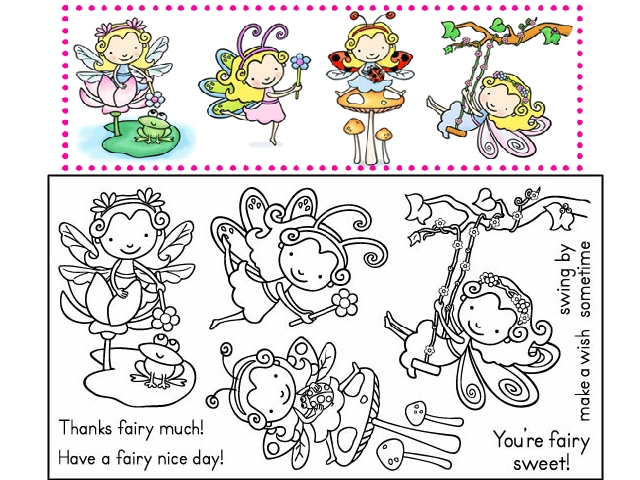Pink Cat Studio Enchanted Lily Fairy Stamp Set