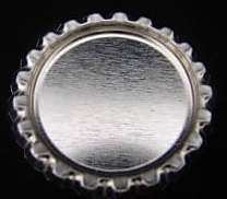 12 - Bottle Caps Flattened Chrome 1 Incn 12/pkg.