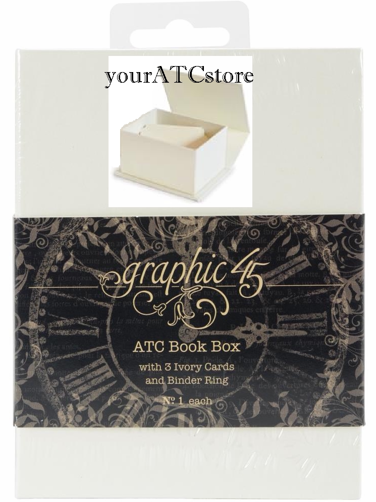 Graphic 45 Artist Trading Card Book Box w/ Ivory ATC Tags