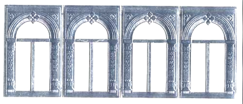 German Foil (Dresden) Paper/Scrap - 4 Archways in Silver