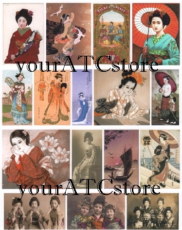 yourATCstore Geisha Girls Collage Sheet