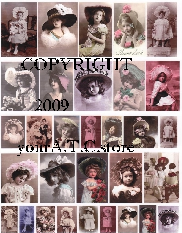 yourATCstore Girls in Hats Collage Sheet