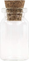 Glass Vial Bottle Empty Clear Jar 1 1/4 in. x 5/8 in. with Cork