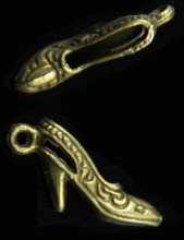 Art Doll - Shoe Almost 1 inch Brass High Heel Charms 1 Pair