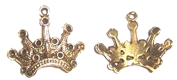 Crown - Fancy Pointed Crown Charm - Gold