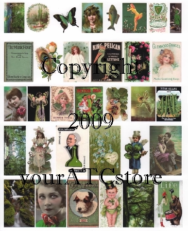 yourATCstore Artist Trading Card Collage Sheet - Green