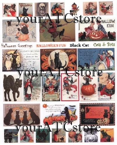 yourATCstore Halloween ATC II with Black Cats Collage Sheet