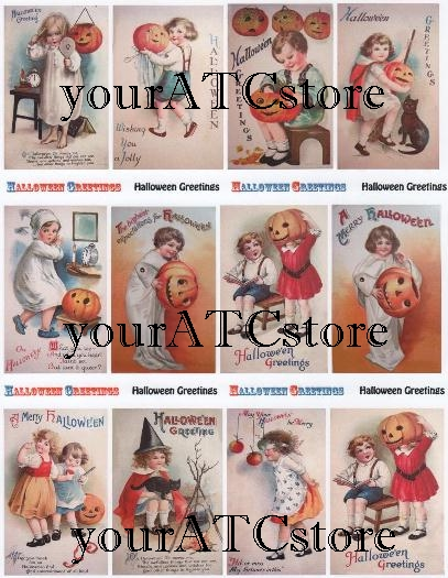 yourATCstore Halloween Greeting Cards Collage Sheet