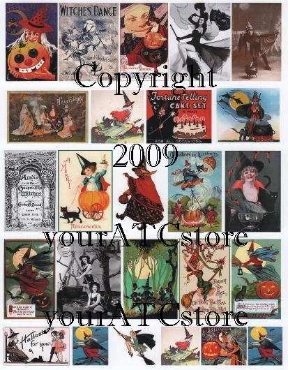 yourATCstore Halloween Good Witch, Bad Witch Collage Sheet