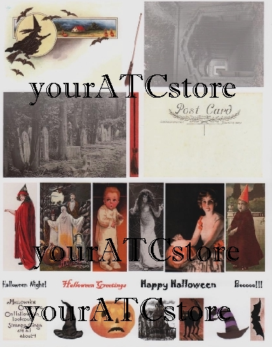yourATCstore Halloween ATC Postcards Collage Sheet