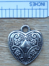 Heart - Silver Fourish with Diamond in Center