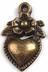 Heart and Flower Charm - Antique Bronze