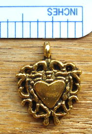 Heart - Gold with Solid Heart in Center