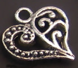 Heart Charm - Silver Flourish Heart