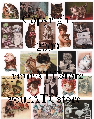 yourATCstore Here, Kitty Kitty I Collage Sheet